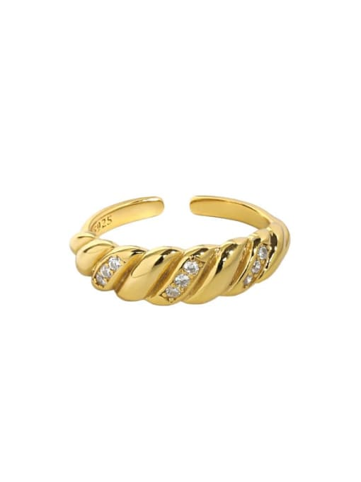 18K gold [15 adjustable] 925 Sterling Silver Rhinestone Irregular Vintage Band Ring